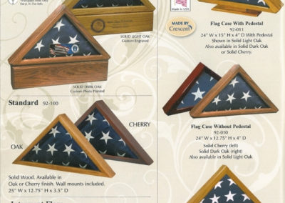 Flag Case Urns - Cherry or Oak