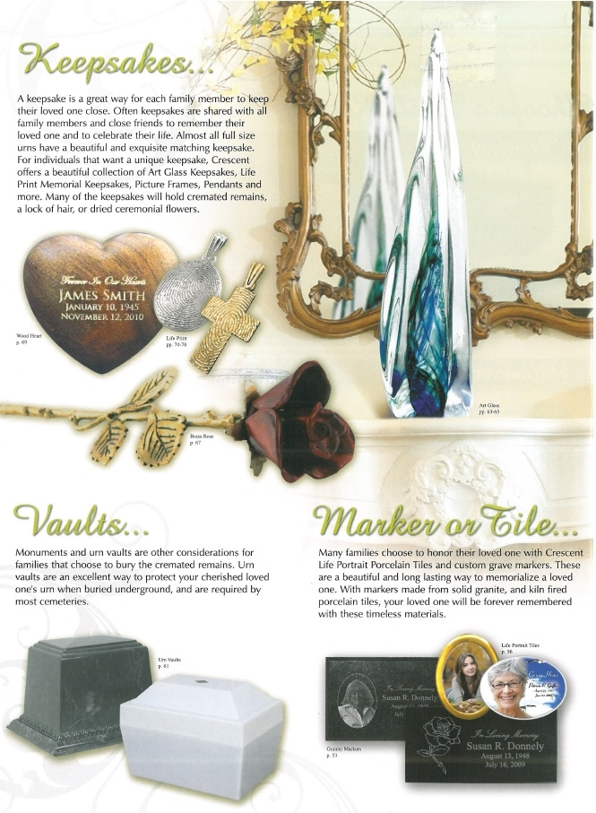 Keepsakes, Vaults, Markers or Tiles - Aegis Cremation and